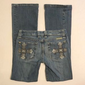 LIKE NEW Miss Me Boot Cut Jeans - Embellished